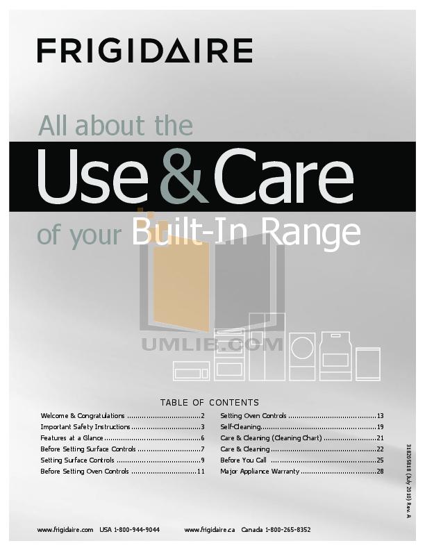 pdf for Frigidaire Range FFES3027LS manual