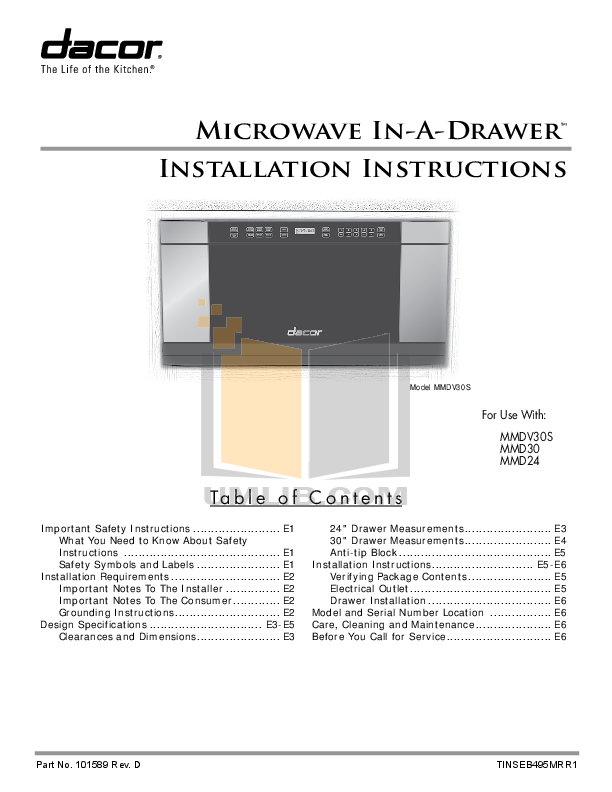 pdf for Dacor Microwave MMD30S manual