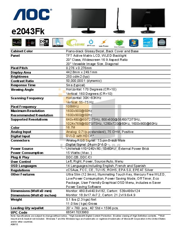 download free pdf for aoc e2043fk monitor manual rh umlib com Adjust AOC Monitor AOC e2243Fw Users Manual