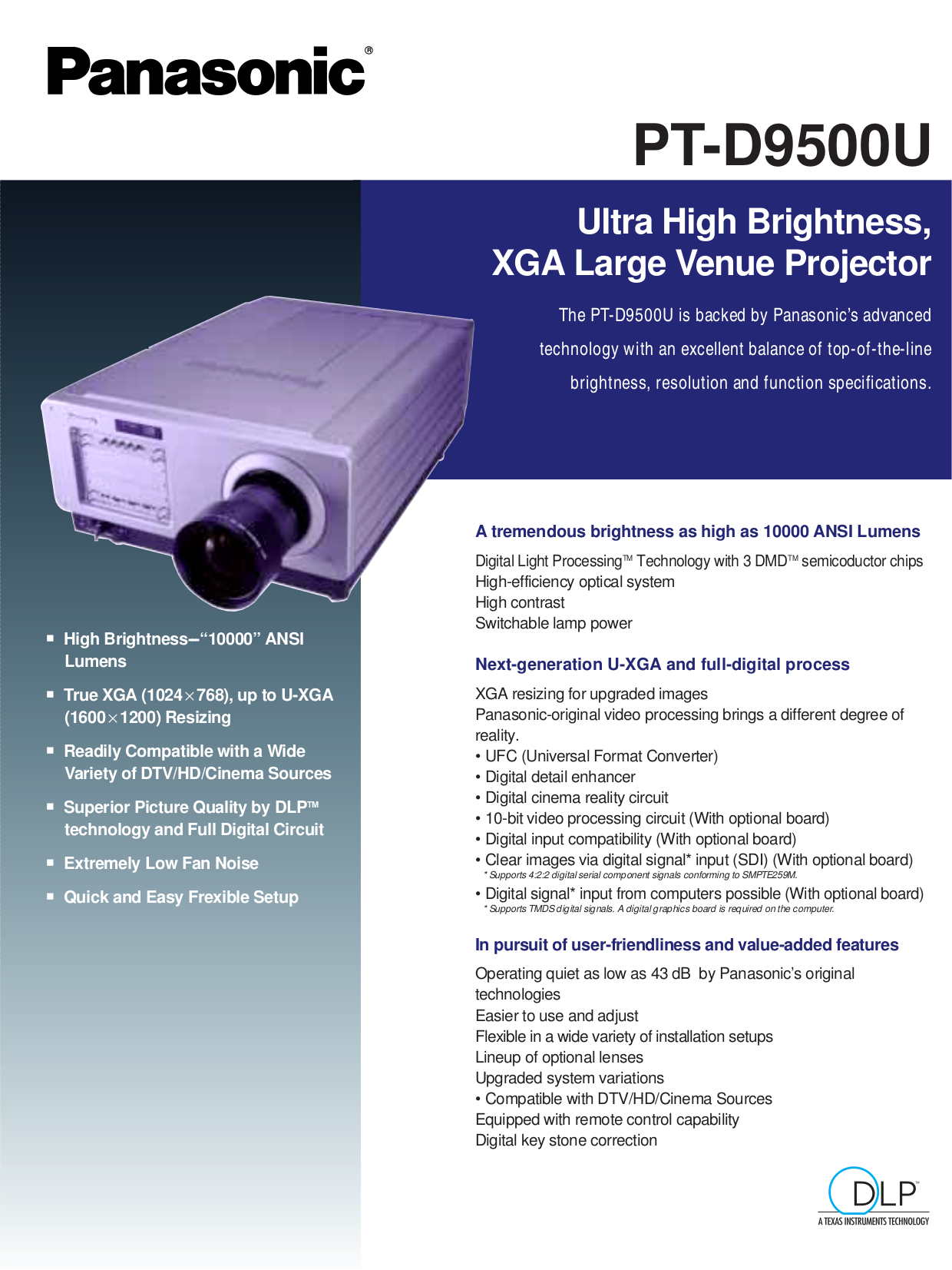 pdf for Panasonic Projector PT-D9500U manual