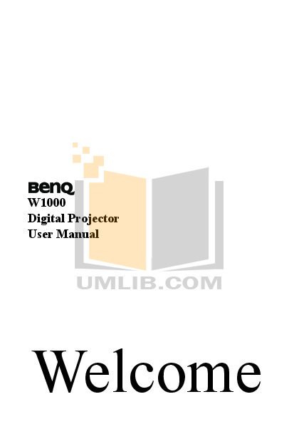 pdf for Benq Projector W1000 manual