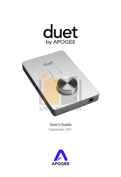 pdf for Apogee Other duet Audio Interface manual