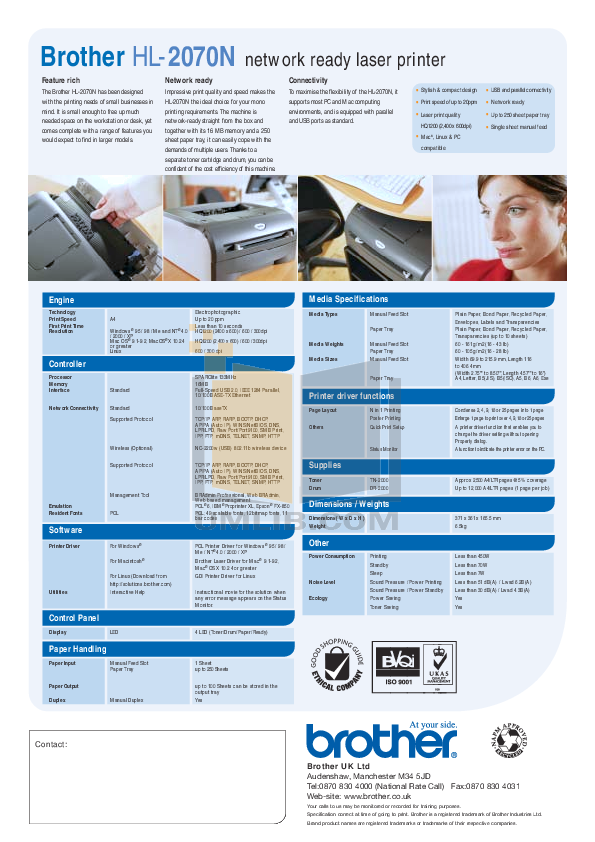Brother Printer HL-2070N pdf page preview