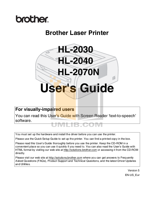 pdf for Brother Printer HL-2070N manual