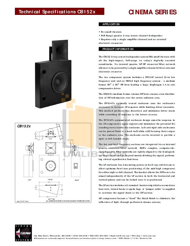 pdf for Eaw Speaker System Cinema CB152X manual