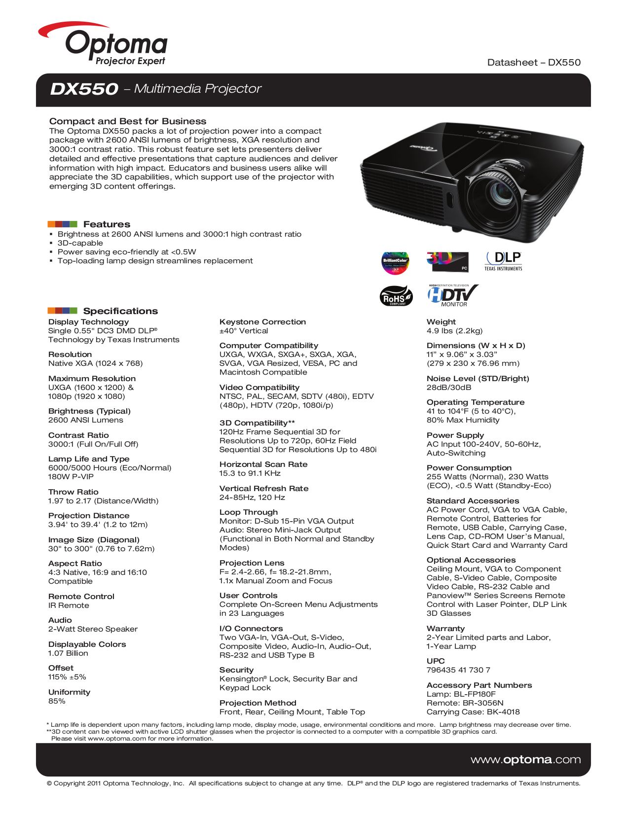 pdf for Optoma Projector DX550 manual