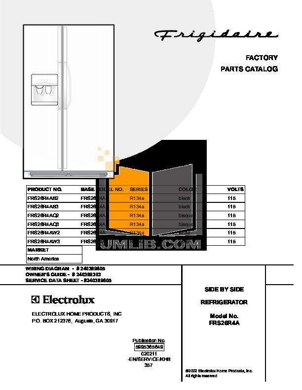 pdf for Frigidaire Refrigerator FRS26R4A manual