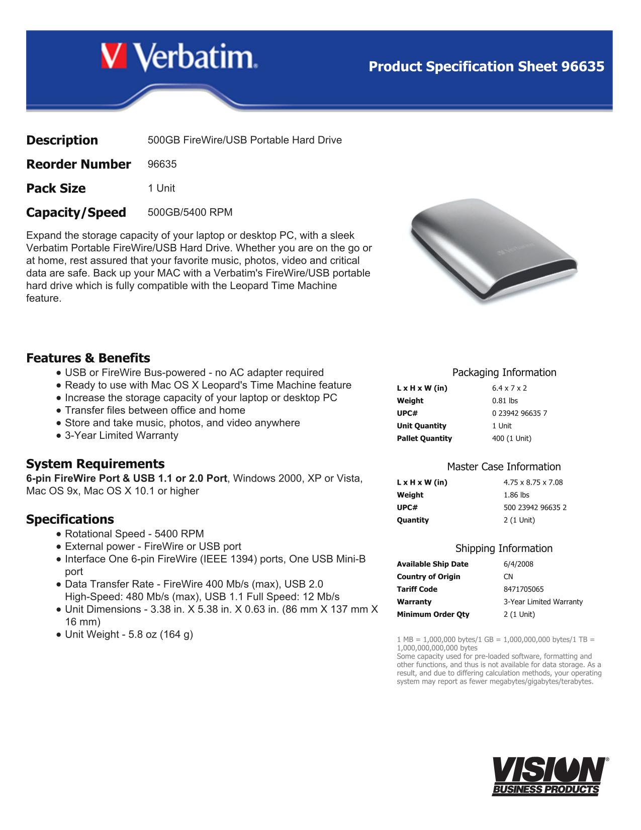 pdf for Verbatim Storage 96635 manual