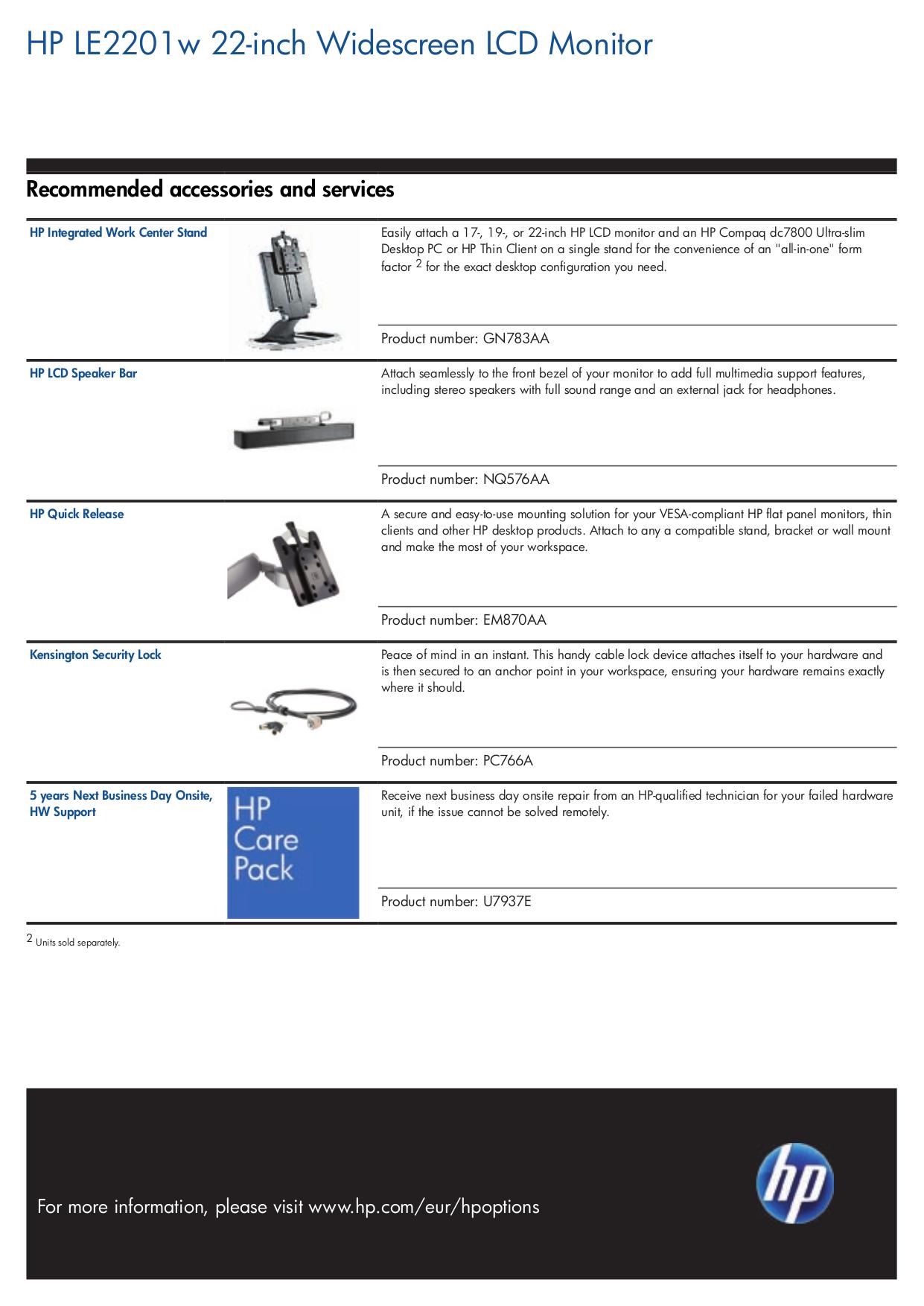 PDF manual for HP Monitor LE2201W
