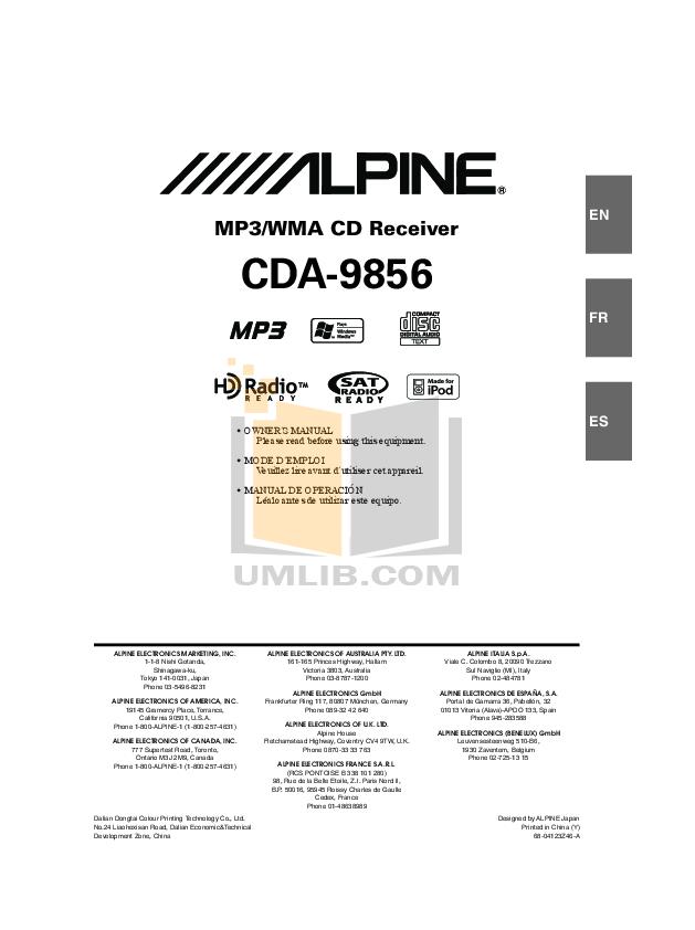 download free pdf for alpine cda 9856 car receiver manual rh umlib com Alpine CDA 9856 Troubleshooting Alpine CDA 9856 Troubleshooting