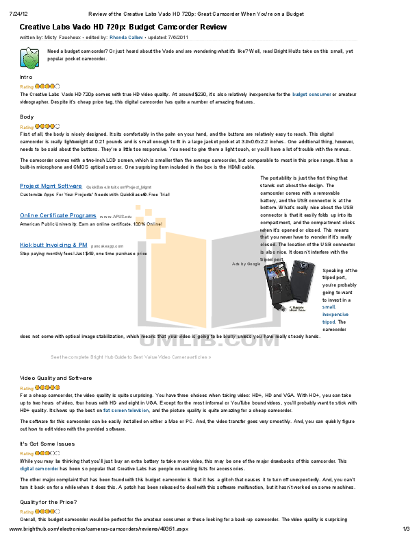 download free pdf for creative vado hd camcorders manual rh umlib com Creative Leaflet Creative Ideas