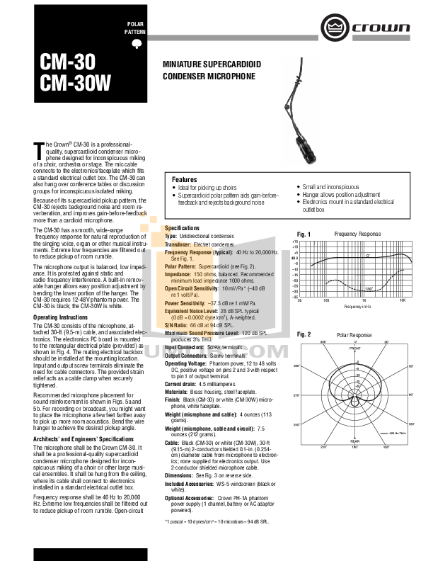 pdf for Crown Other CM-30W Microphones manual
