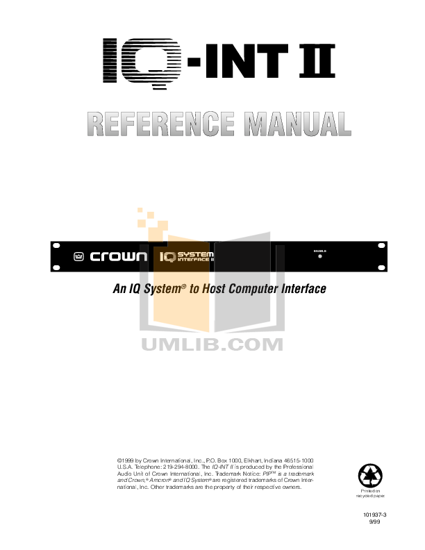 pdf for Crown Other Interface 3 IQ Systems manual