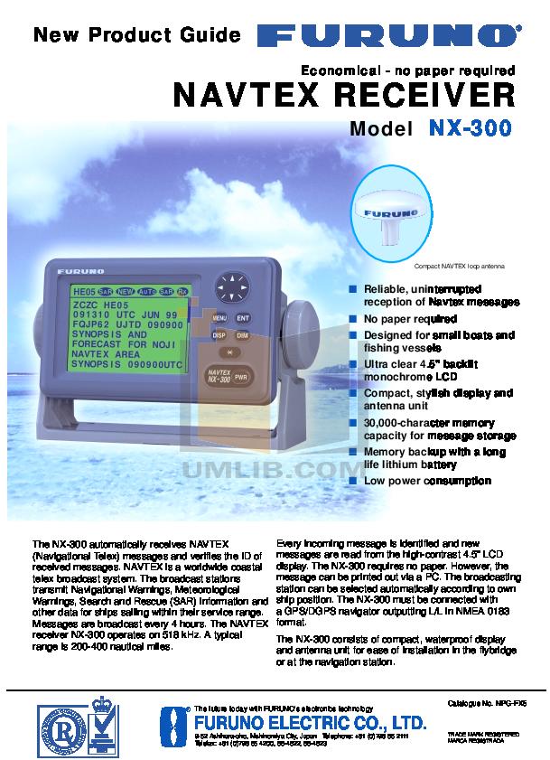 pdf for Furuno GPS NX-300 manual