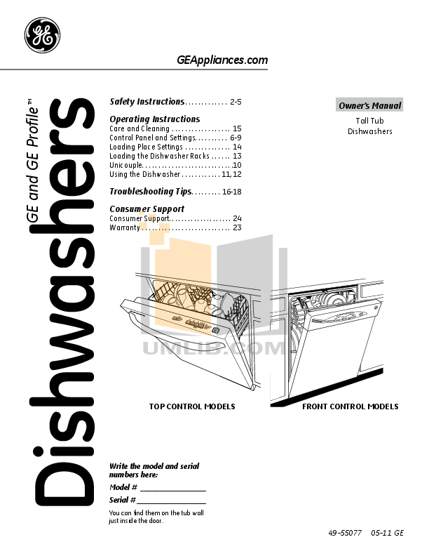 download free pdf for ge gdwt368vss dishwasher manual rh umlib com general electric profile dishwasher manual general electric profile dishwasher manual