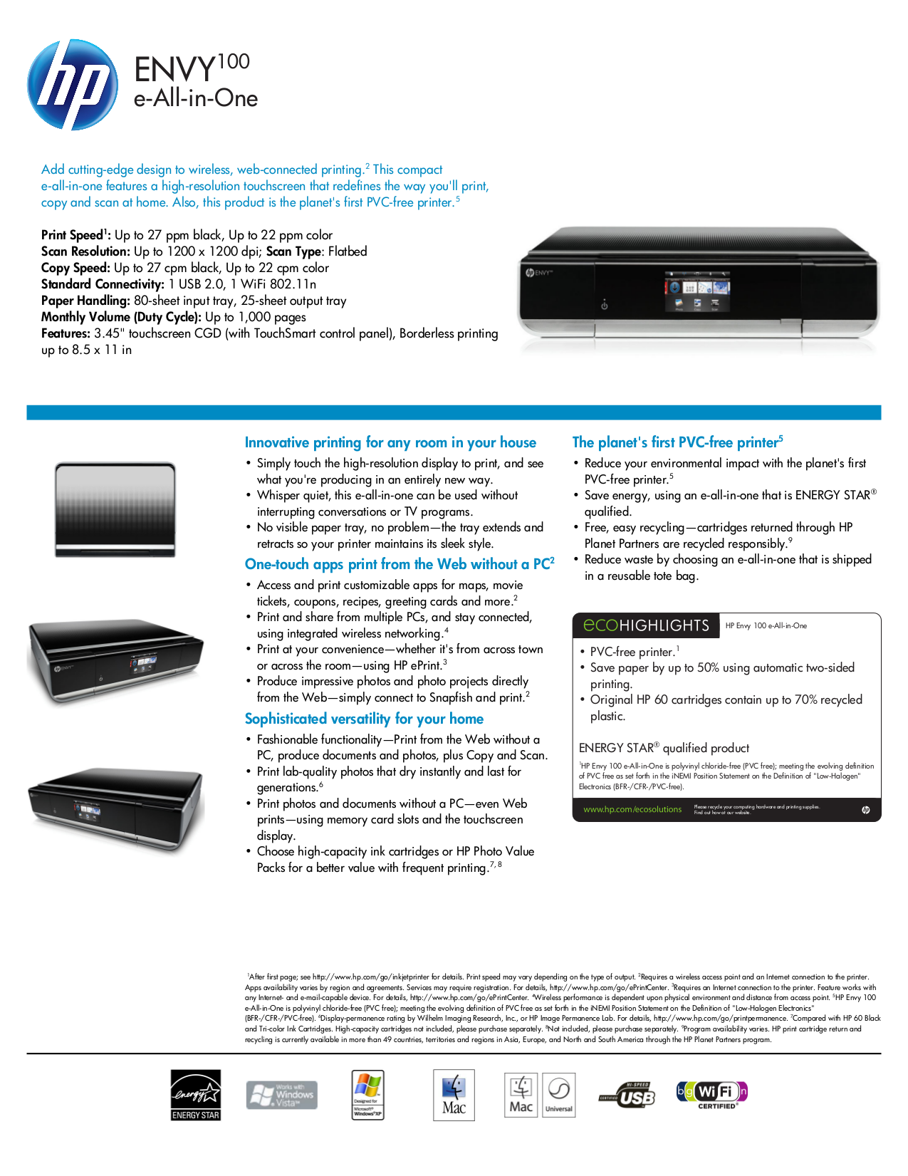pdf for HP Multifunction Printer Envy 100 manual