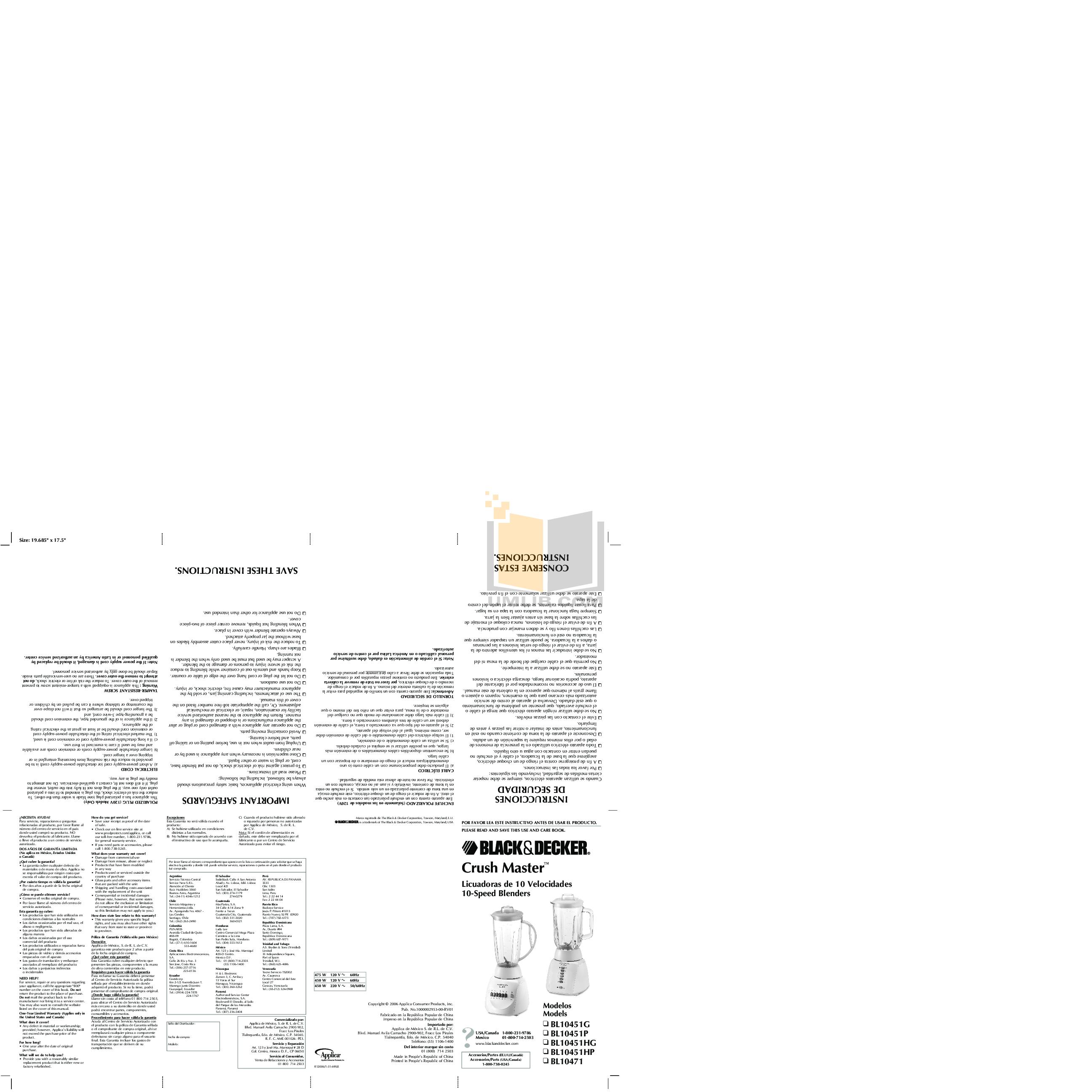 pdf for BlackAndDecker Blender BL10451HP manual