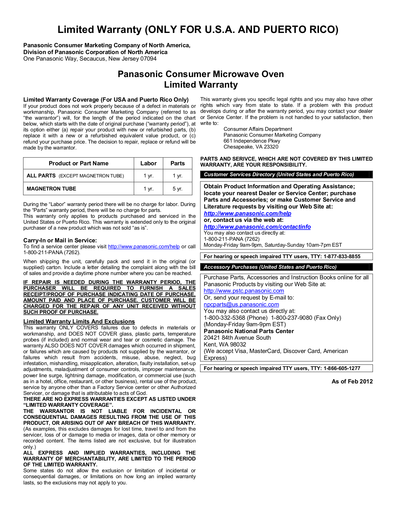 panasonic inverter microwave instruction manual