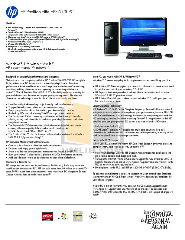 Download free pdf for HP Pavilion Elite HPE-210 Desktop manual