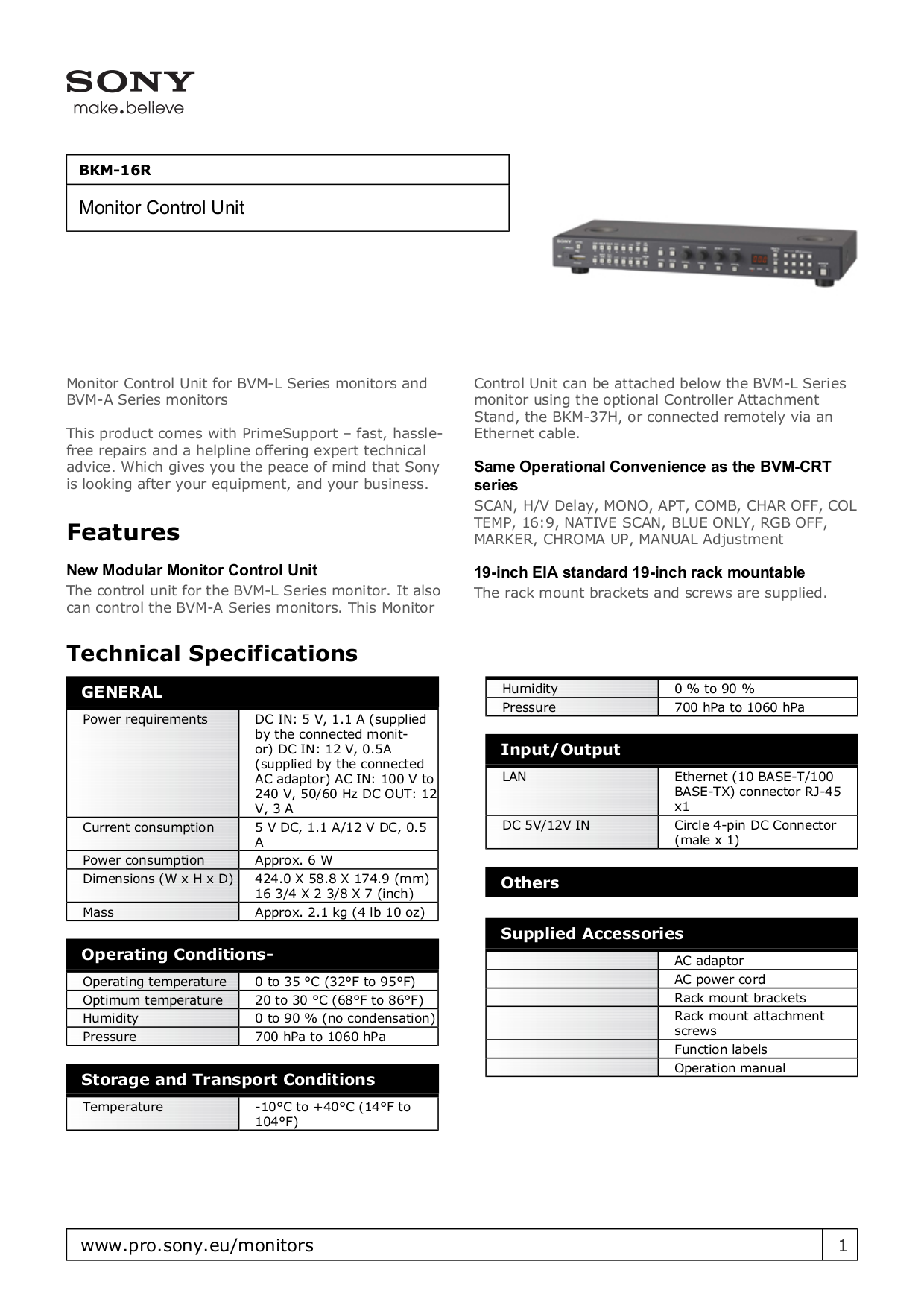 pdf for Sony Monitor BVM-L231 manual
