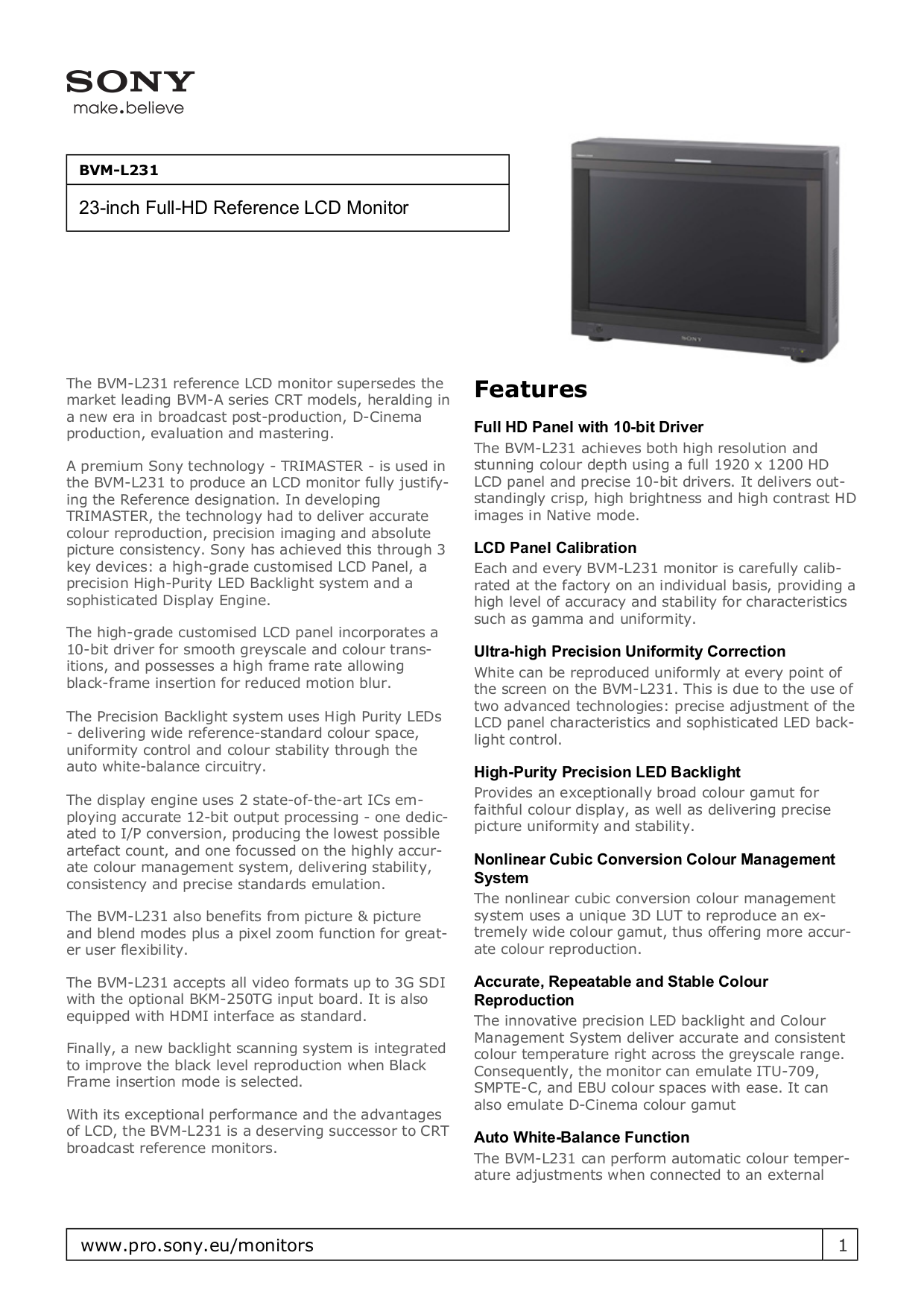 Sony Monitor BVM-L231 pdf page preview