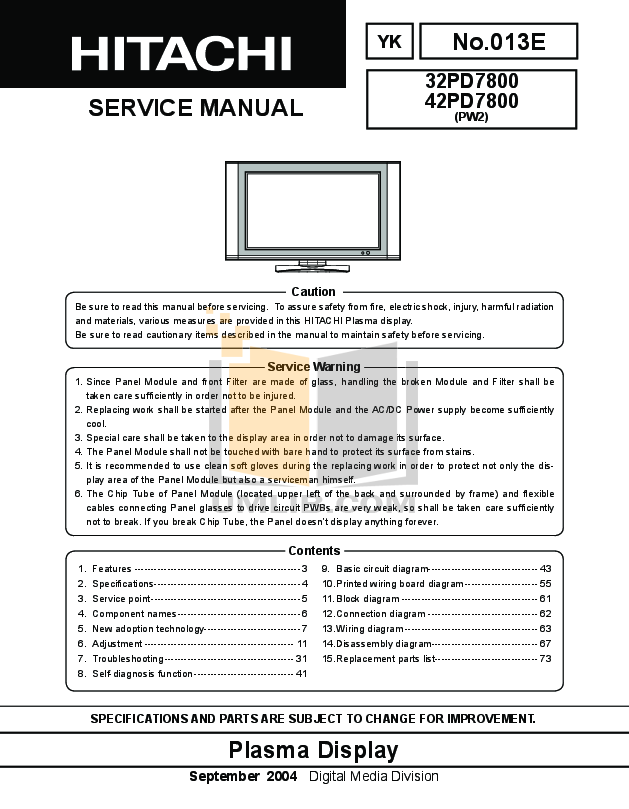 Sensational Pdf Manual For Hitachi Tv 42Pd7800 Wiring Cloud Hisonuggs Outletorg