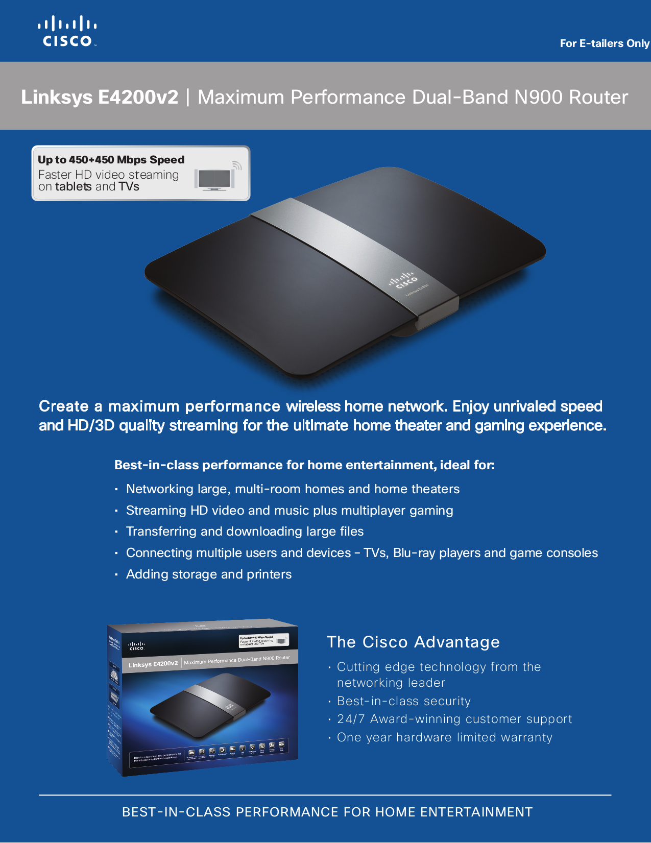 Download free pdf for Linksys E4200V2 Wireless Router manual