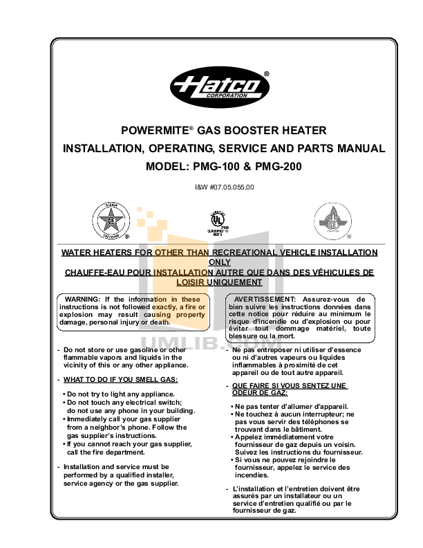 pdf for Hatco Other PMG-100 manual