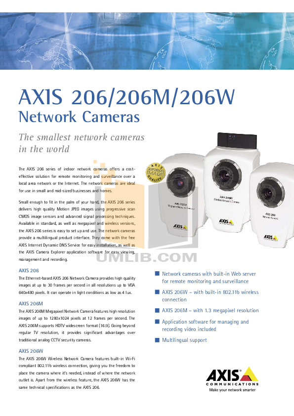 pdf for Axis Security Camera 206M manual