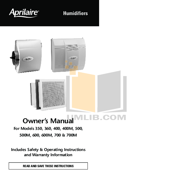 pdf for Aprilaire Humidifier 400 manual
