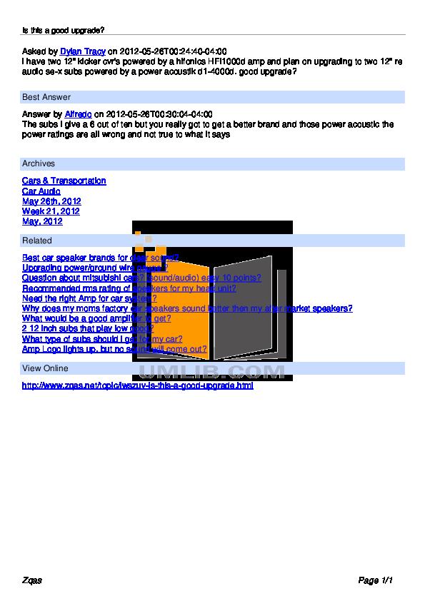 pdf for Hifonics Car Amplifier HFi1000d manual