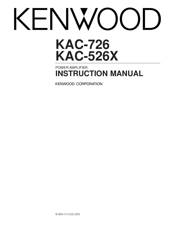 pdf for Kenwood Amp KAC-726 manual