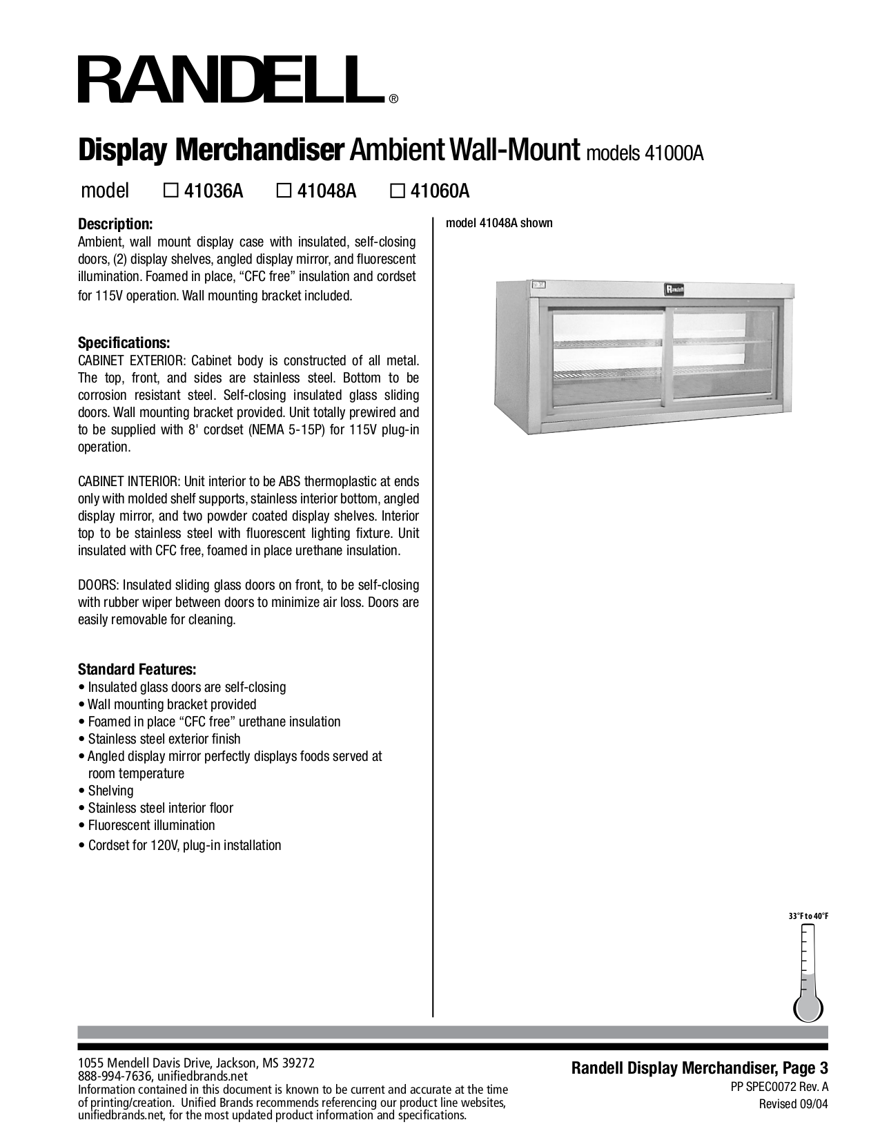 pdf for Randell Other 41048A Merchandisers manual