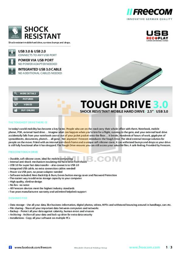 pdf for Freecom Storage ToughDrive Pro UF manual
