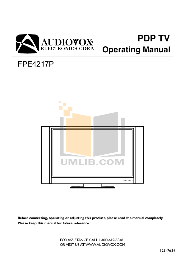pdf for Audiovox TV FPE4217P manual
