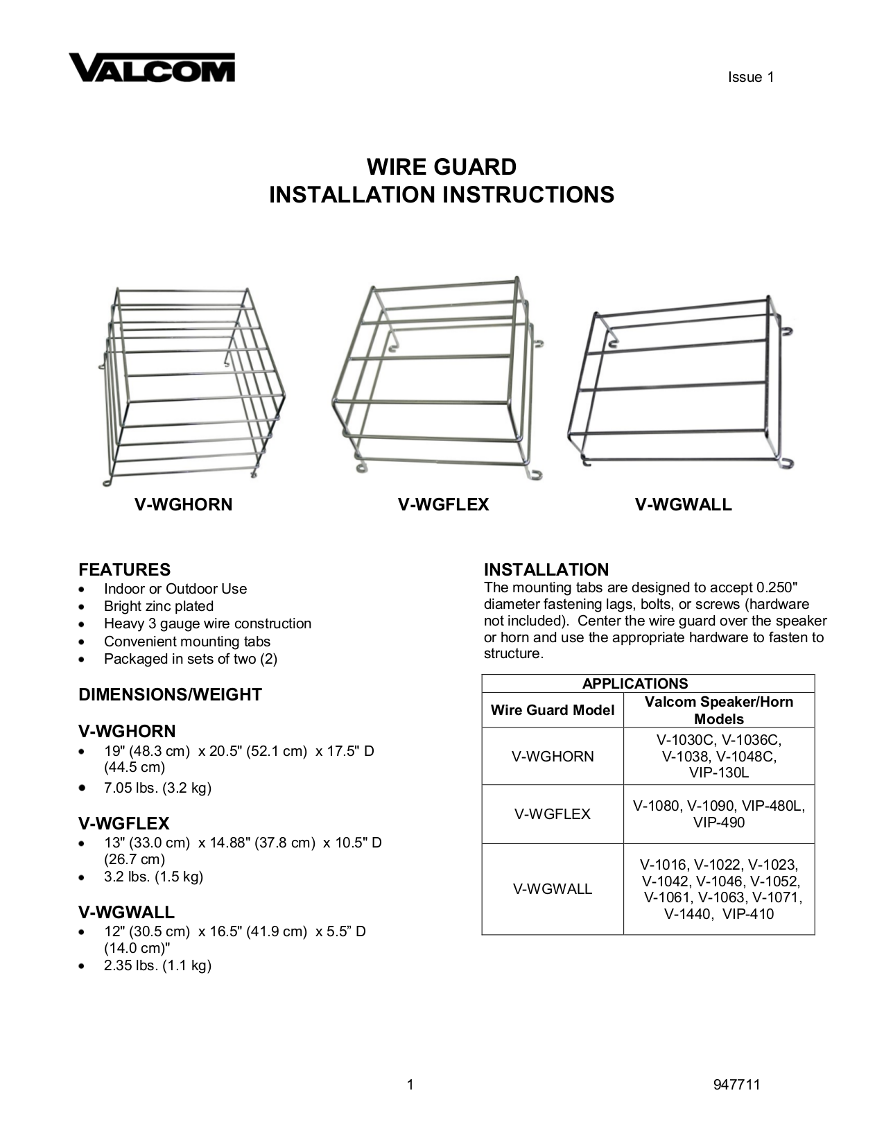 Valcom V WGWALL 2 V WGHORN 2 V WGFLEX 2 Wire Guard Installation Manual.pdf 0 download free pdf for valcom v1036c horns other manual  at bayanpartner.co