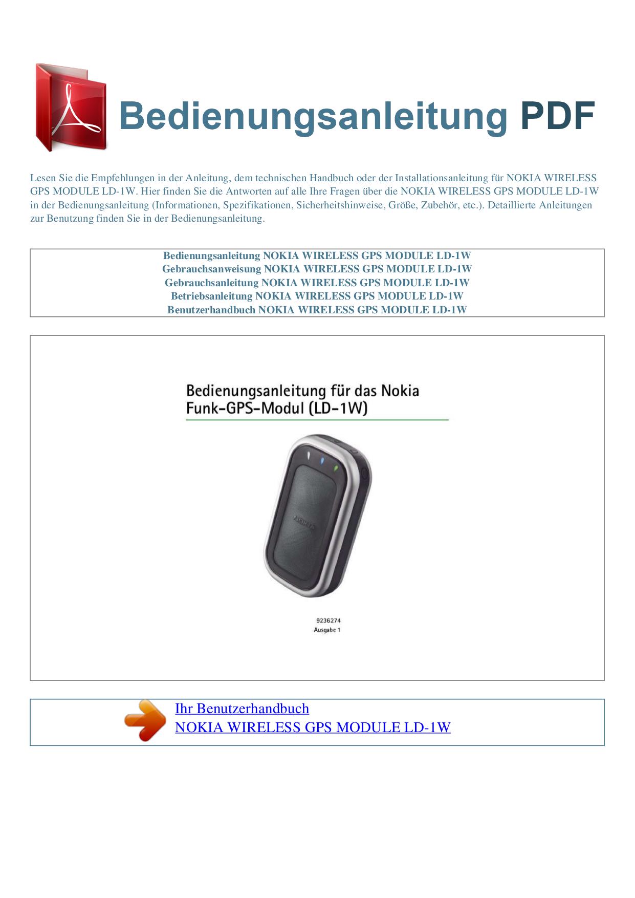 pdf for Nokia GPS LD-1W manual