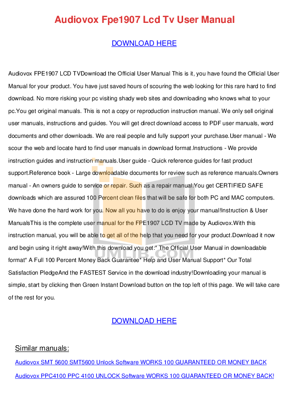 pdf for Audiovox TV FPE1907 manual
