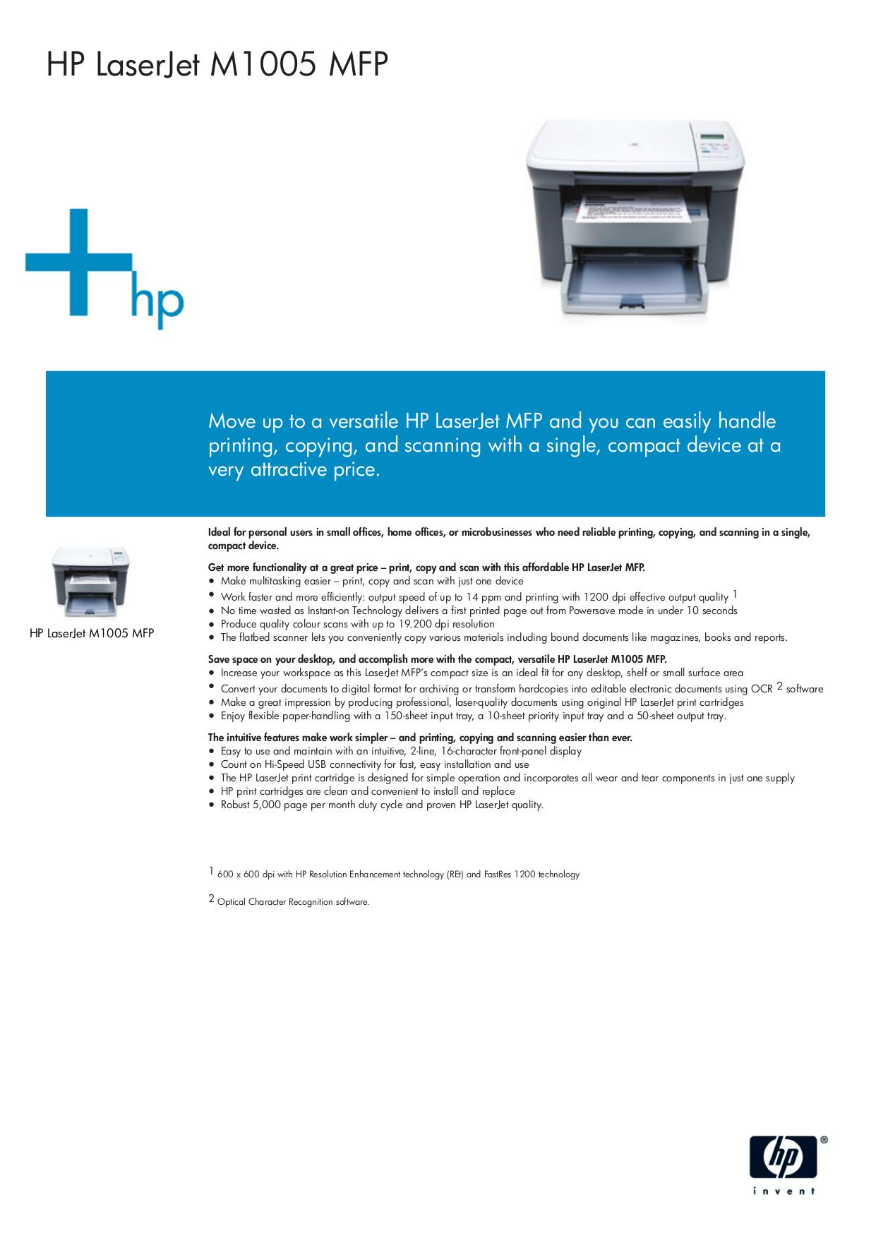 Download free pdf for HP Laserjet,Color Laserjet M1005