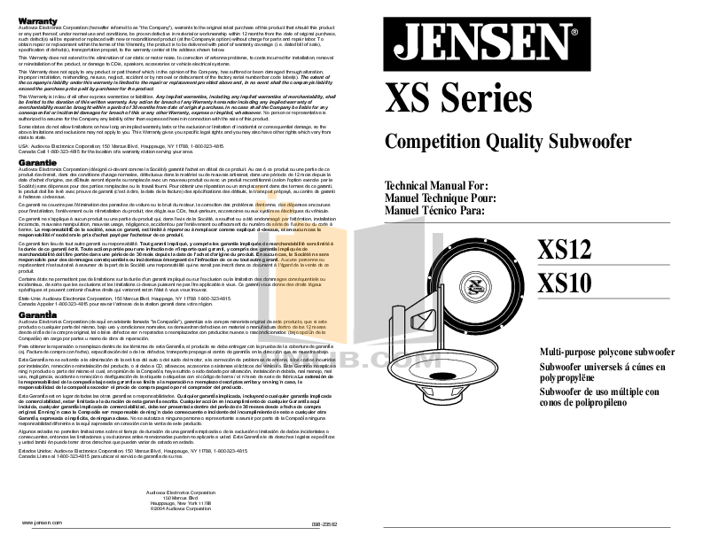 pdf for Audiovox Subwoofer XS10 manual