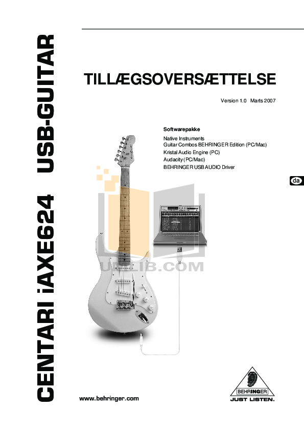 pdf for Behringer Guitar iAXE624 manual