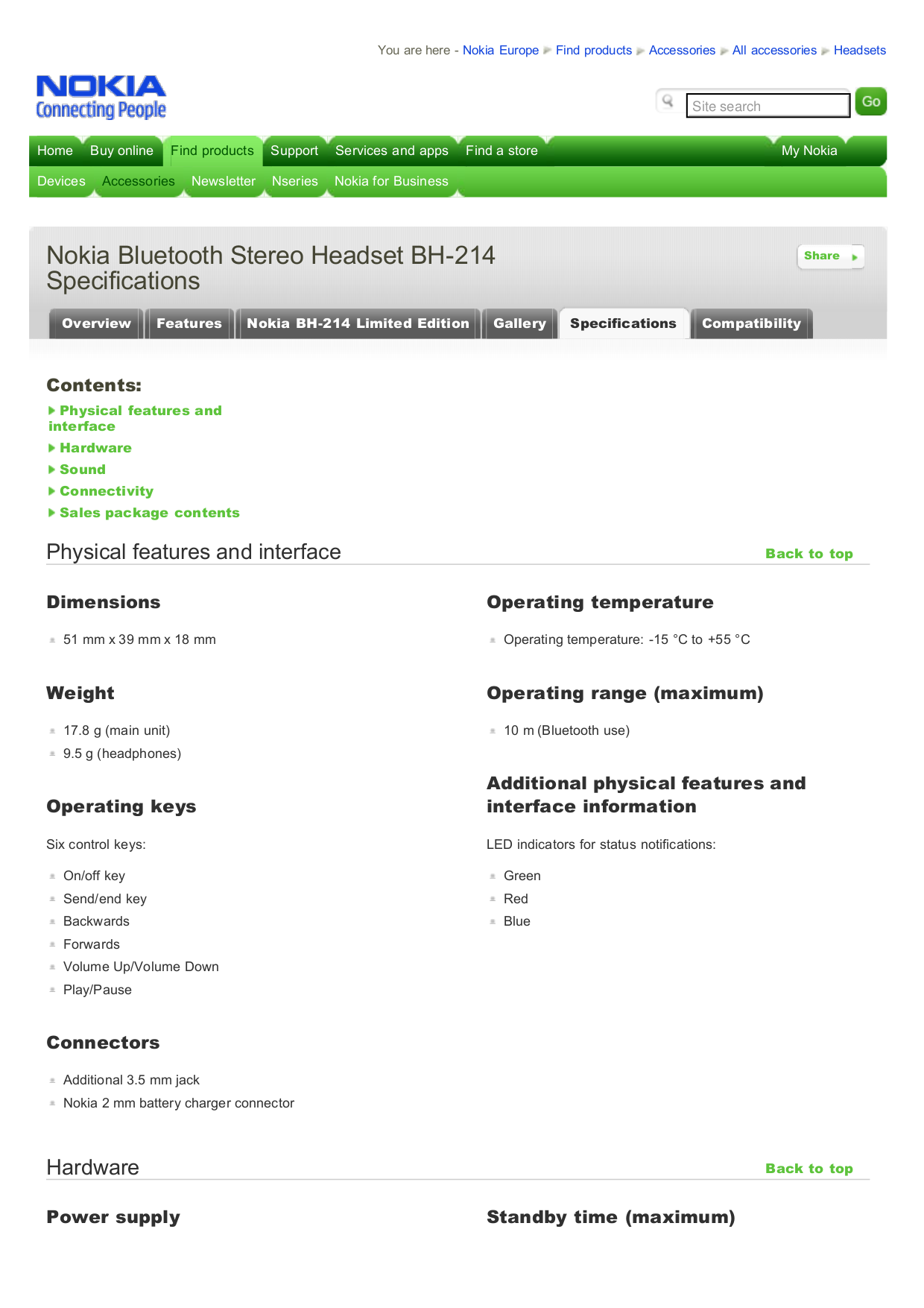 pdf for Nokia Headset BH-214 manual