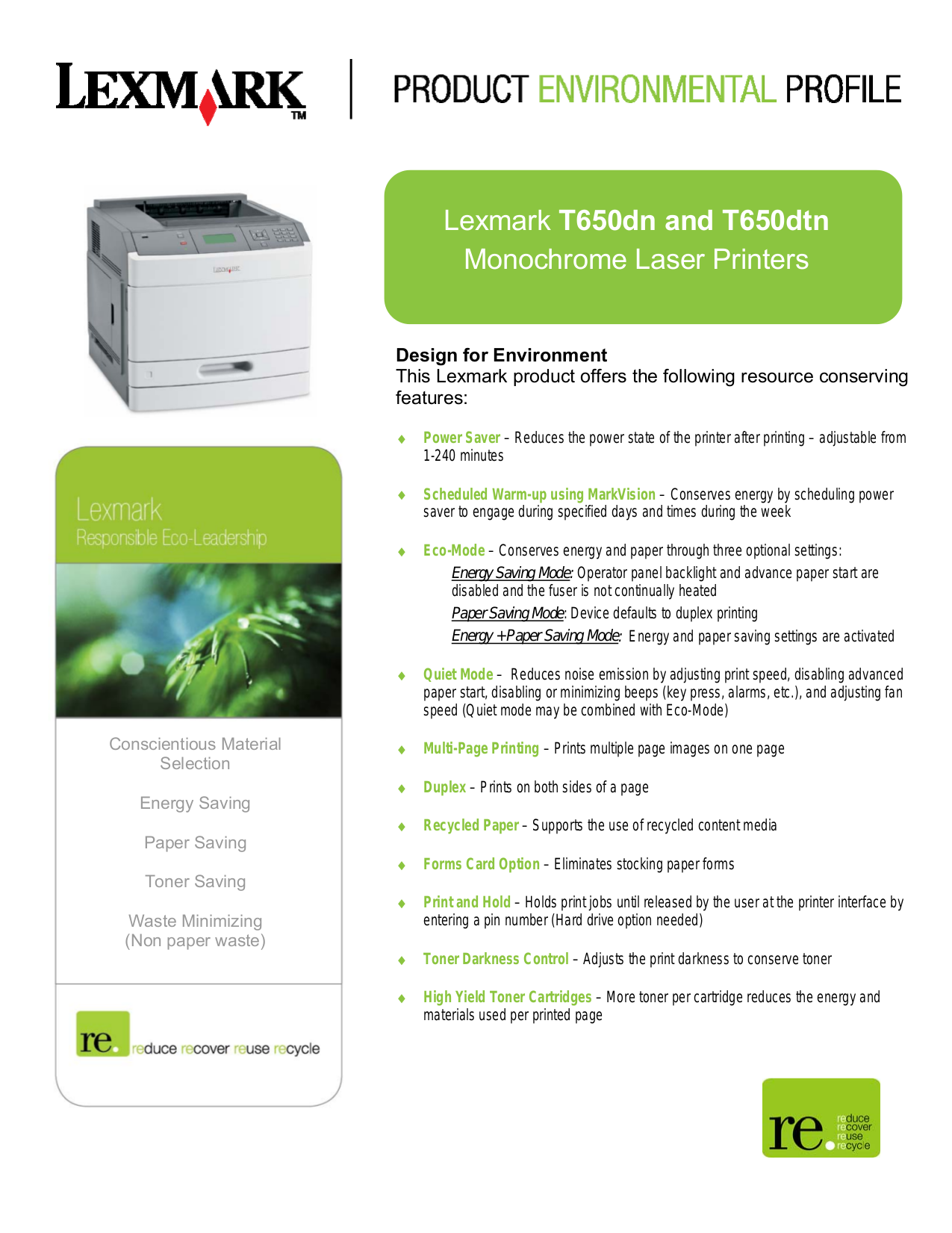 pdf for Lexmark Printer T650dtn manual