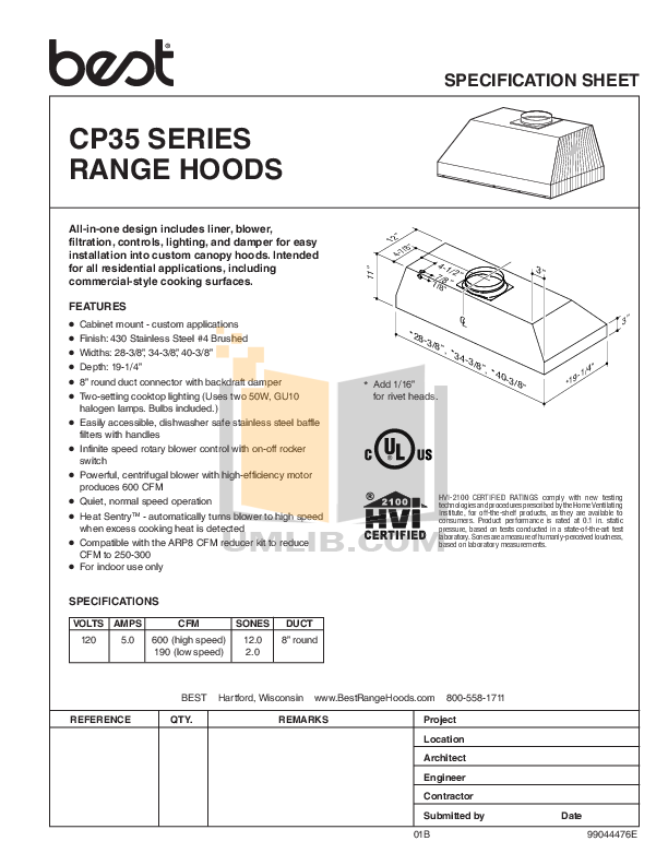 pdf for Broan-NuTone Other CP35 Hoods manual