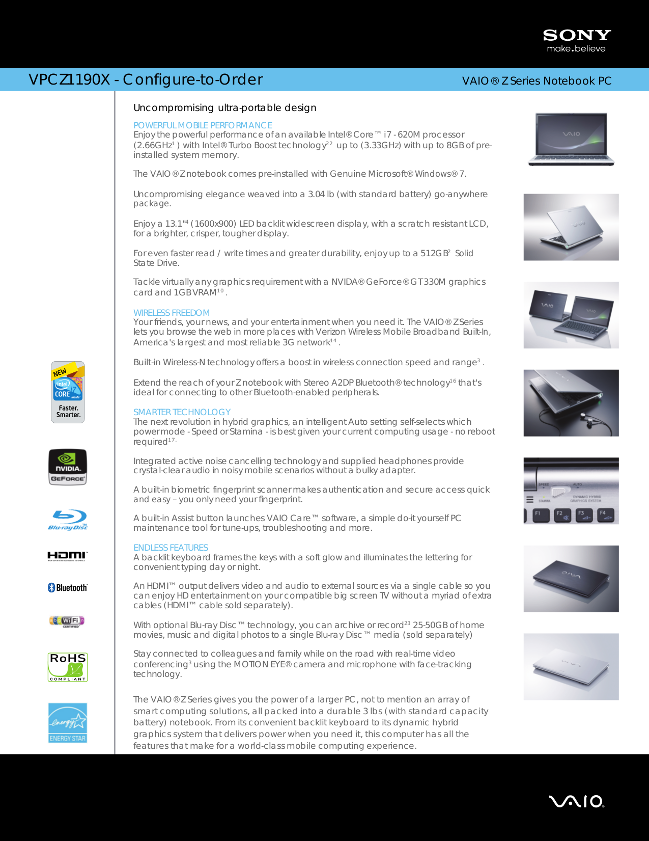 Download free pdf for Sony VAIO VPCZ1190X Laptop manual