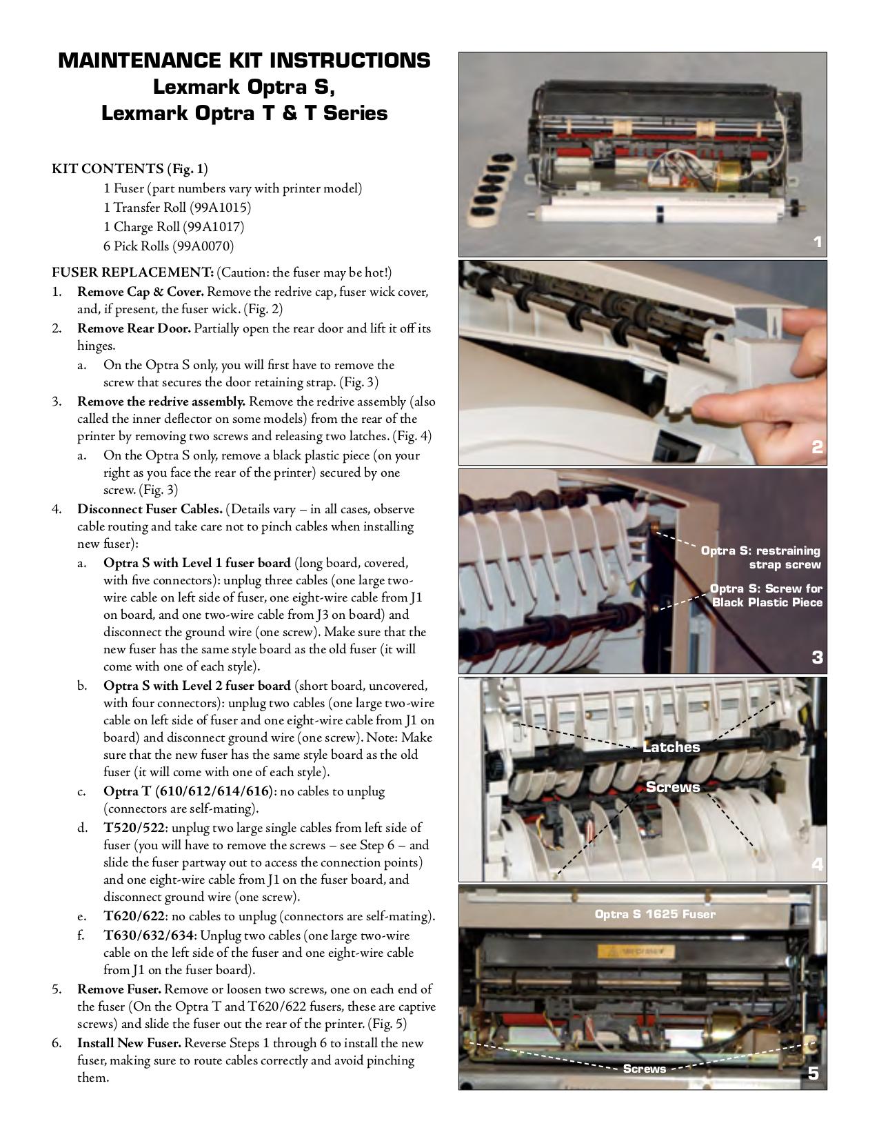 pdf for Lexmark Printer Optra T620 manual