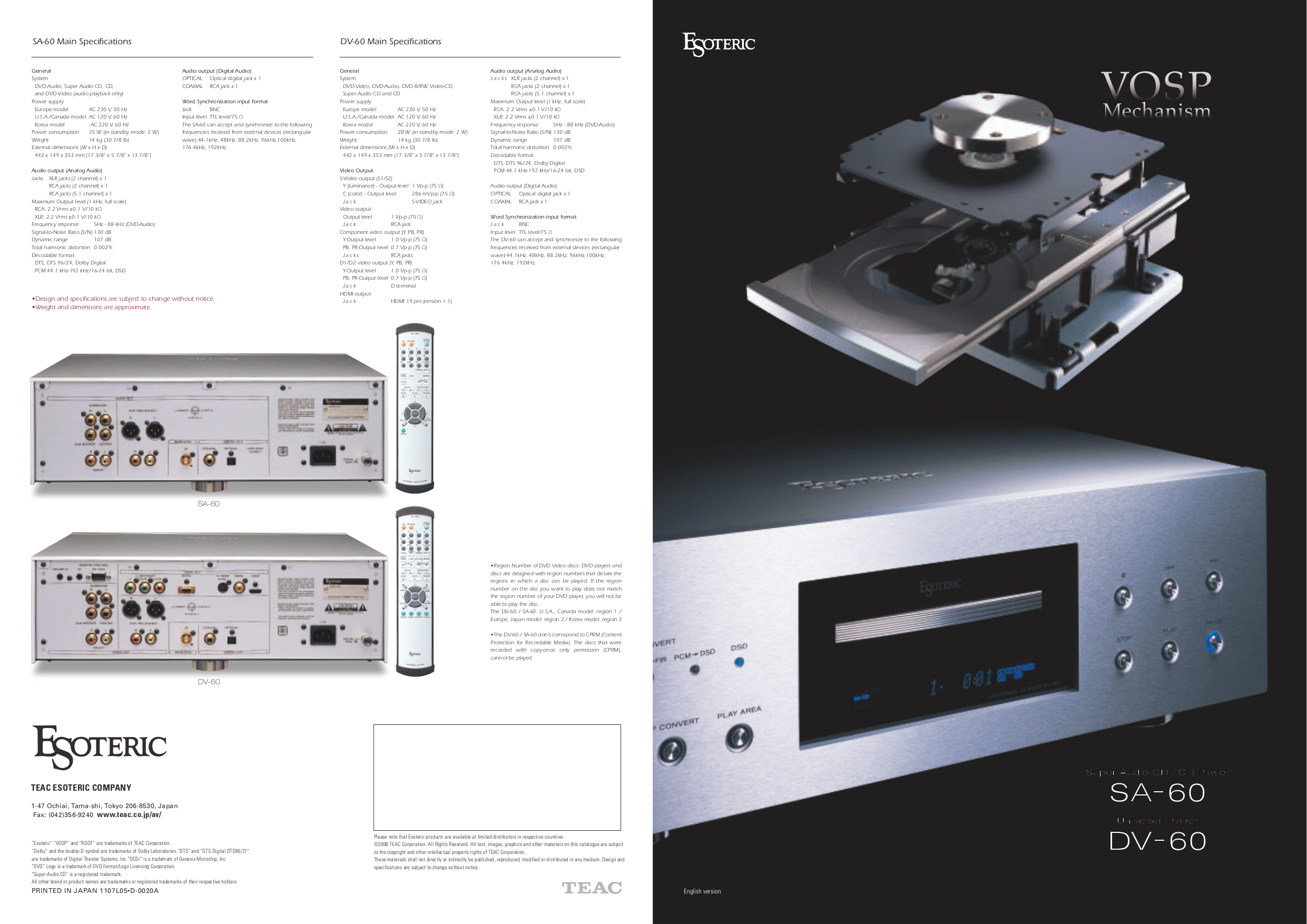 pdf for Teac DVD Players DV-60 manual