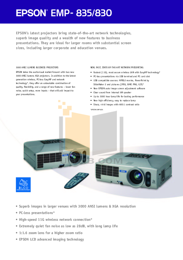 pdf for Epson Projector EMP-830 manual