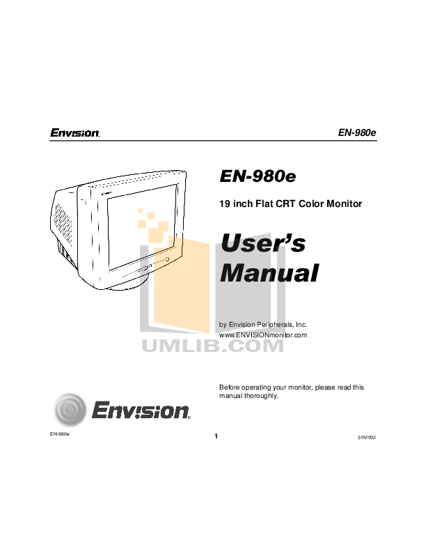 pdf for Envision Monitor EN980e manual