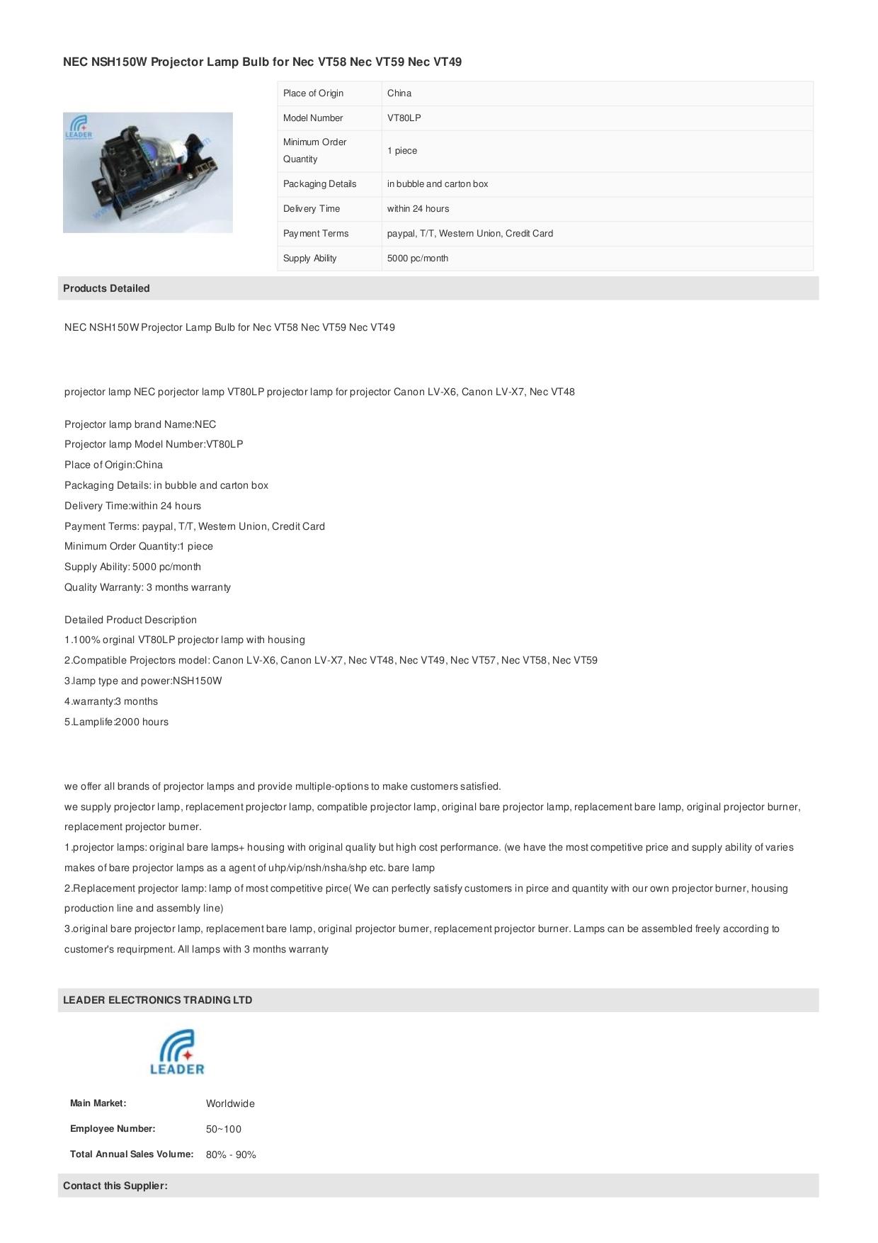Pdf manual for nec projector vt59.